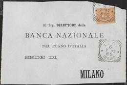 STORIA POSTALE REGNO - ANNULLO TONDO RIQUADRATO LODI/(MILANO) 06.07.1892 SU FRONTESPIZIO BANCA - 1878-00 Umberto I