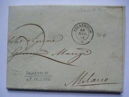 ITALY 1861 Entire - Palazzolo To Milan - ...-1850 Préphilatélie
