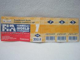 Ticket IA Formule 1 World Champion Ship à NEVERS MAGNY-COURS Grand Prix De France 1991 - Biglietti D'ingresso