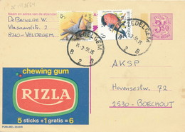 XX926 -- Entier Publibel 2558N + 2 TP Oiseaux Buzin ZEDELGEM 1991 -  Bel Affranchissement - Entiers Postaux
