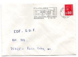 VENDÉE - Dépt N° 85 = POUZAUGES 1975 = FLAMME Type II = SECAP Illustrée D' ARMOIRIES 'MEITINGEN Ville Jumelée' - Postmark Collection (Covers)