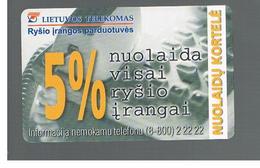 LITUANIA (LITHUANIA) -  1999  DISCOUNT CARD - USED - RIF. 10720 - Lituania