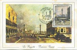 ITALIA - FDC MAXIMUM CARD 1993 - FRANCESCO GUARDI - ARTE  - ANNULLO SPECIALE VENEZIA - Cartoline Maximum