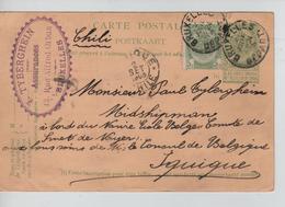 Entier CP Armoiries+TP C.BXL Départ 2/7/1905 C.PUB Tyberghein R.Alfred Orban V.Iquique Chili C.d'arrivée JS176 - Illustrat. Cards