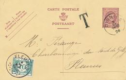 XX937 -- Entier Houyoux OIGNIES 1926 Vers FLEURUS  - Manque 5 C , Donc Taxée 10 C - Entiers Postaux