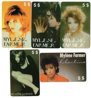 LOT 5 Télécartes Prépayées - Phonecard - Mylène FARMER - Musique