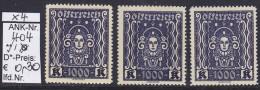 """1922/24 - FM/DM Aus Satz """"Frauenkopf (Kunst)"""" - 1000 Kronen Schwarzviolett - ** Postfrisch - Siehe Scan  (404 01-02) - Ungebraucht"""