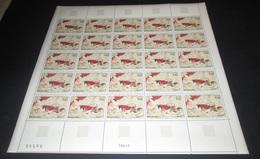 France 1968 Neuf** N° 1555 Tableau Grotte De Lascaux Feuille Complète (full Sheet) 25 Timbres - Ganze Bögen