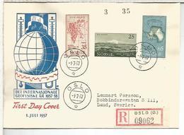 NORUEGA OSLO CC CERTIFICADA AÑO GEOFISICO INTERNACIONAL IGY ARTICO ANTARTIDA ANTARCTIC ARCTIC - Año Geofísico Internacional