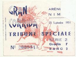 Ticket  Corrida Arènes De Nîmes 23 Septembre 1951 - Biglietti D'ingresso