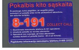 LITUANIA (LITHUANIA) -  1999  COLLECT CALL 8 - 191  - USED - RIF. 10725 - Lithuania