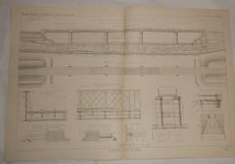 Plan Du Pont Treillis à Piles Tubulaires D'Argenteuil Sur La Seine. Chemin De Fer De Paris à Dieppe. 1864 - Opere Pubbliche