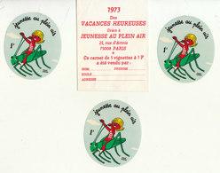 """3 Autocollants 1F  """"Jeunesse Au Plein Air 1973"""" - Commemorative Labels"""