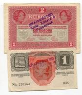 Serbie Serbia Ovp Austria Hungary Ovp 1 Krone 1916 + 2 Kronen 1917 RARE !!! - Serbie