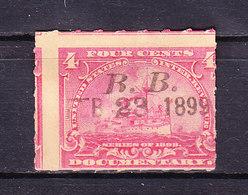 USA, Gebuehrenmarke, 4 Cent, Dampfschiff, 1898 (49729) - Gebührenstempel, Impoststempel