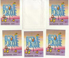 Affiche + 5 Autocollants Ecole Publique Quinzaine 1974 (3 Scans) - Commemorative Labels