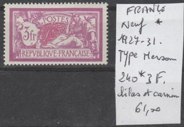 TIMBRES NEUF*  France >Neufs * Nr 240* COTE 61 € TYPE MERSON - Neufs