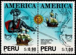 ~~~ Peru 1993 - UPAEP America Ships  Good Set - Mi. 1488/1489 ** MNH OG ~~~ - Peru