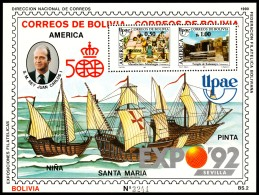 ~~~ Bolivia 1990 - UPAEP America Ships  Top Block ! - Mi. Bl. 188 ** MNH OG - CV 50.00 Euro  ~~~ - Bolivia