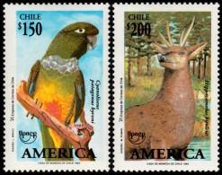~~~ Chile 1993 - UPAEP Fauna Birds Parrot Deer Good Set - Mi. 1575/1576 ** MNH OG  ~~~ - Chili