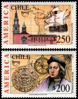 ~~~ Chile 1992 - UPAEP America Ships Boats Good Set - Mi. 1528/1529 ** MNH OG  ~~~ - Chili