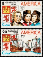 ~~~ Cuba 1991 - UPAEP America Ships Boats - Mi. 3518/3519 ** MNH OG  ~~~ - Cuba