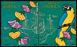 ~~~ Mexico 1991 - UPAEP Fauna Birds Parrot  Good Set - Mi. 2205/2206 ** MNH OG ~~~ - Mexico