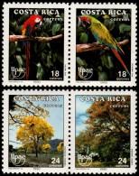 ~~~ Costa Rica 1990 - UPAEP Fauna Birds Parrot - 2 Pairs - Mi. 1381/1384 ** MNH OG ~~~ - Costa Rica