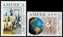 ~~~ Urugauy 1992 - UPAEP America Ships And Globe - Good Set - Mi. 1960/1961 ** MNH OG ~~~ - Uruguay