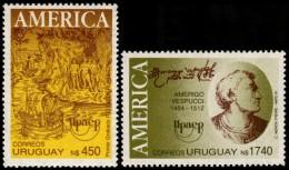 ~~~ Urugauy 1991 - UPAEP America Vespucci  And Ship - Good Set - Mi. 1921/1922 ** MNH OG ~~~ - Uruguay