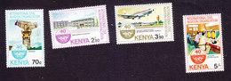 Kenya, Scott #293-296, Mint Hinged, Int'l Civil Aviation Org, Issued 1984 - Kenia (1963-...)