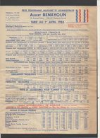 """Publicité / 1955 Tarifs Petit équipement Militaire Et Administratif  """"Albert Benayoun"""" à Melun (Drapeaux,écharpes,etc. - Publicités"""