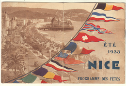 NICE - ETE 1933 PROGRAMME DES FETES - Dépliants Touristiques