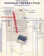 03- MOULINS SUR ALLIER- FACTURE MICHAUD FRERES- 27 RUE VILLARS- 2 RUE CHARLES RISPAL- 1950 - Food