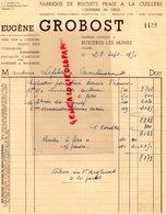 03- BUXIERES LES MINES- RARE FACTURE EUGENE GROBOST- FABRIQUE BISCUITS FRAIS A LA CUILLERE-CONFISERIE-PATISSIER -1950 - Food