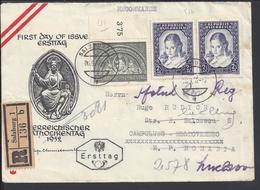 AUTRICHE - 1952 - Affr. N° 816 + Paire 817 Sur Enveloppe Recommandée 1er Jour De Wien Vers Campulung - Moldovenesc (ROU) - 1945-60 Briefe U. Dokumente