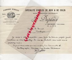 03- HURIEL- RARE LETTRE MANUSCRITE SIGNEE J. DUPLAIX- FABRIQUE HUILES DE NOIX -COLZA- ARACHIDES CALVE-DELFT-1930 - Food