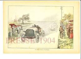 4 Scans 1904 Course Automobile Paris-Madrid + Accident De Gratien Et évocation Société D'assurances La Fourmi 216CH12 - Non Classificati