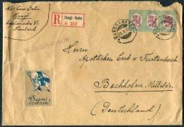 1927 Aland Finland Hango / Hanko Registered Cover - Germany. Athletics Patriotic Flag 'Suomi Voittoon' Vignette - Aland