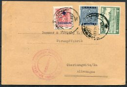 1939 Greece Thessaloniki National Bank Of Greece Postcard - Oberlungwitz, Germany. Provisional Overprint - Covers & Documents