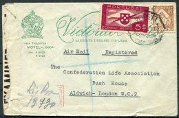 Portugal Lisboa Registered Airmail Advertising Censor Cover - Confederation Life, Bush House, London - 1910-... République