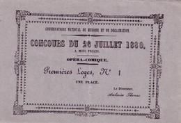 Deux Billets D'entrée Au Conservatoire De Musique Et De Déclamation Pour Les Concours Des 26 Et 30 Juillet 1880. 2 Scan - Biglietti D'ingresso