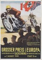 NS Ansichtskarte, Motorradrennen Großer Preis Von Europa, Sachsenring 1938, Bei Hohenstein-Ernstthal, Signiert: H.Kessel - Deutschland