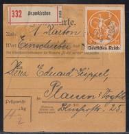 DR Paketkarte Mif Minr.125,134,136 Anzenkirchen Gel. Nach Plauen - Deutschland