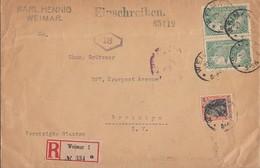DR R-Brief Mif Minr.89II,2x 113 Weimar 23.6.20 Gel. In USA Zensur Ansehen !!!!!!!!!! - Deutschland