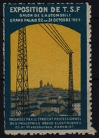 Salon CAR Automobile - Electricity Exposition Radio TSF Paris Salon - Vignette Label Cinderella - France 1924 - MNH - Electricity