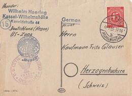 Gemeina. Karte EF Minr.931 Kassel 26.3.47 Gel. In Schweiz Zensur - Gemeinschaftsausgaben