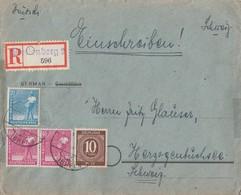 Gemeina. R-Brief Mif Minr.918,950,2x 954 Plettenberg Gel. In Schweiz - Gemeinschaftsausgaben