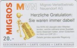 GIFT CARD - SWITZERLAND - MANOR 279 - MVN - Gift Cards