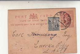 Cape Town To Eureka City California. Cartolina Intero Postale 1891 - África Del Sur (...-1961)